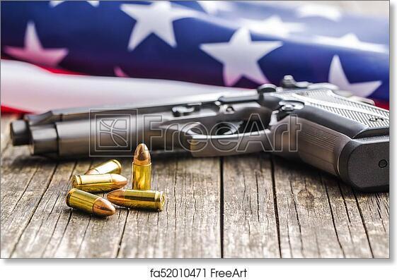 Free art print of Pistol bullets, handgun and USA flag