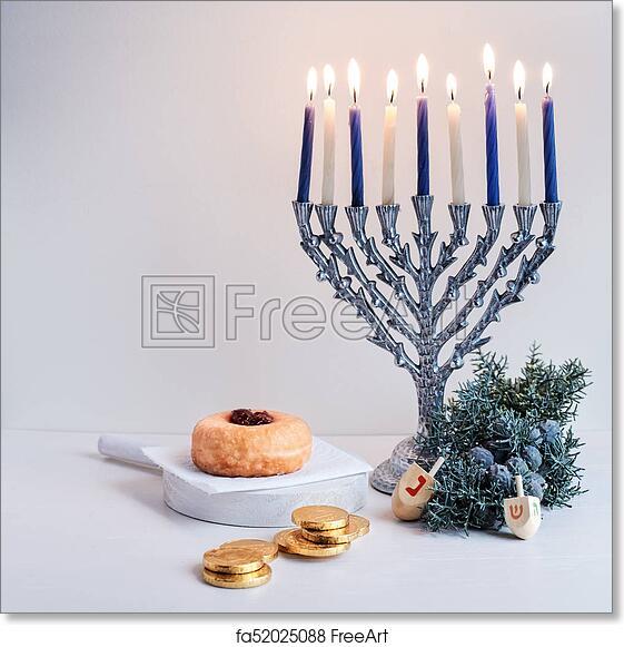 Free Art Print Of Jewish Holiday Hanukkah The Symbols Of Hanukkah