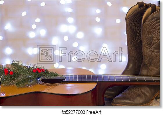 Free art print of Country music christmas background with guitar and cowboy  shoes