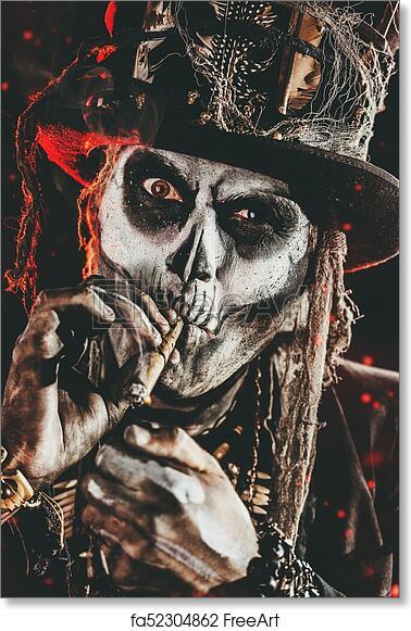 Voodoo Wall Art sticker Halloween Full Colour Day of the dead Samedi