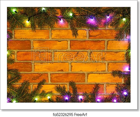 Colorful Christmas Lights Background.Free Art Print Of Wreath And Garlands Of Colored Light Bulbs Christmas Background With Lights And Free Text Space Christmas Lights Border Glowing
