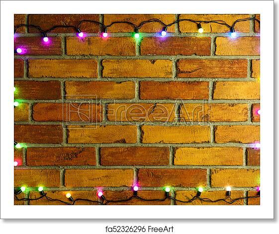 free art print of wreath and garlands of colored light bulbschristmas background with lights and free text space christmas lights border