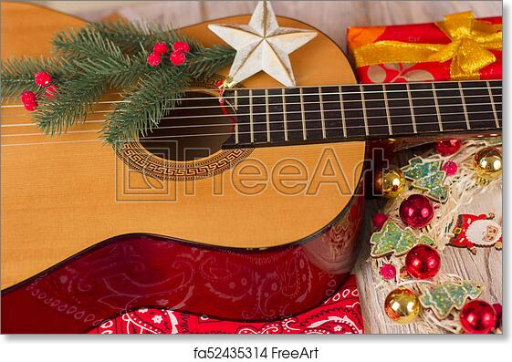 Free Art Print Of Country Music Christmas Background With Guitar And Cowboy Bandanna