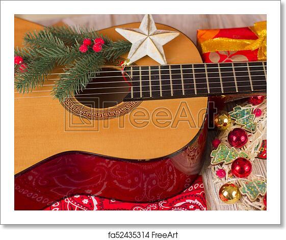 Country Christmas Background.Free Art Print Of Country Music Christmas Background With Guitar And Cowboy Bandanna