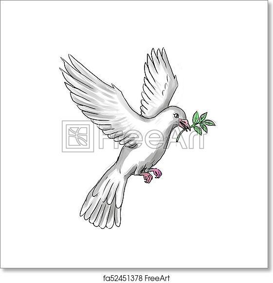 Free Art Print Of Dove Olive Leaf Tattoo Tattoo Style Illustration