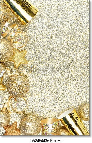 free art print of new years eve corner border over a gold background