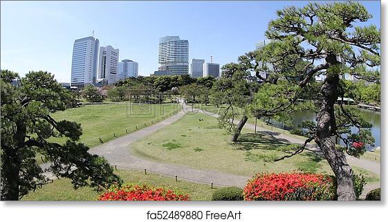 Free art print of Shiodome buildings in Hamarikyu Gardens. Hamarikyu ...