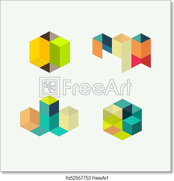 Free art print of Set of minimal geometric multicolor symbol set ...
