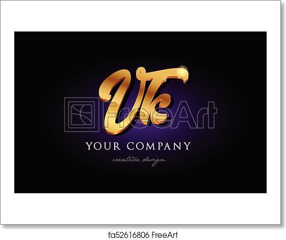 Free art print of Vk v k 3d gold golden alphabet letter metal logo icon  design handwritten typography