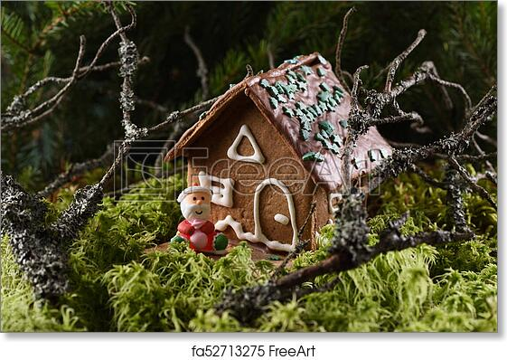 Free Art Print Of Homemade Christmas Gingerbread House And Smiling