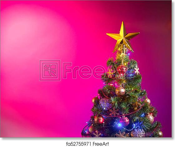 Free Art Print Of Christmas Tree With Festive Lights Pink Background