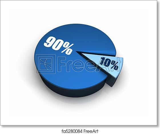 Free Art Print Of Blue Pie Chart 10 90 Percent Blue Pie Chart