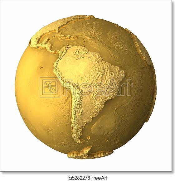 Free art print of Gold Globe - South America Images Of South America Globe Map on map of antarctica globe, map of pacific ocean globe, map of world globe,