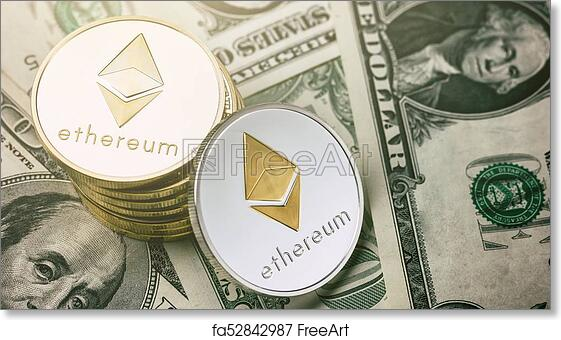 Free art print of Ethereum crypto-currency on dollar notes