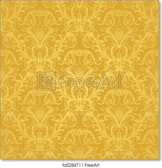 Free Art Print Of Luxury Golden Floral Wallpaper