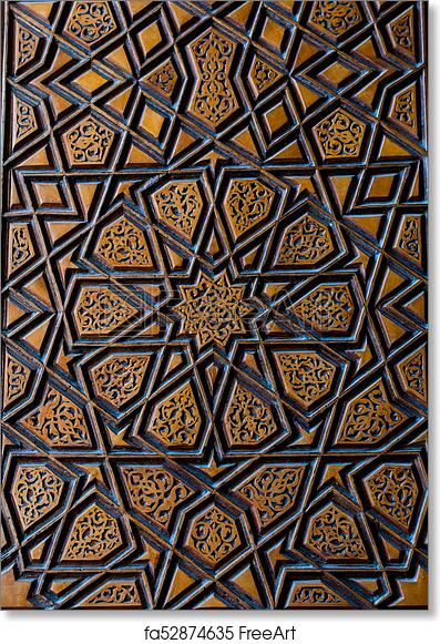 Free art print of Ottoman art with geometric patterns on wood