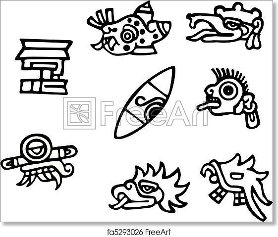Free Art Print Of Mayan Symbols Great Artwork For Tattoos Mayan