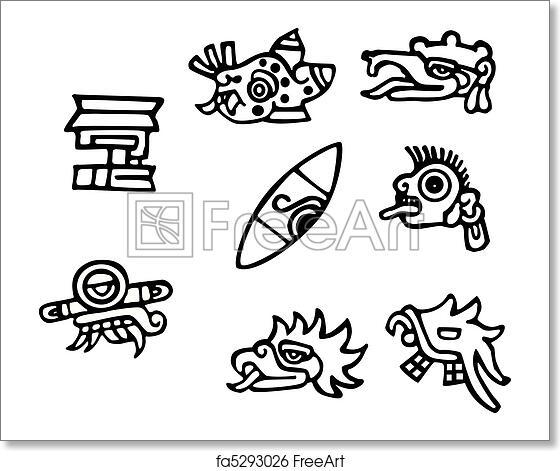 Free art print of Mayan symbols, great artwork for tattoos