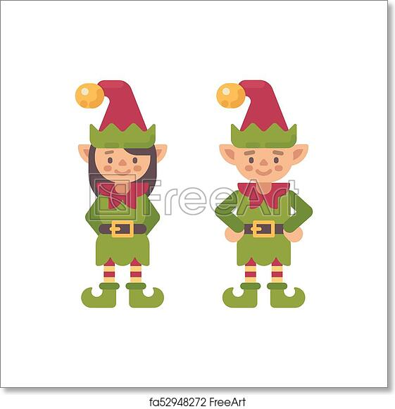Christmas Elves.Free Art Print Of Two Cute Christmas Elves Male And Female Santa Claus Elf Flat Character Illustration
