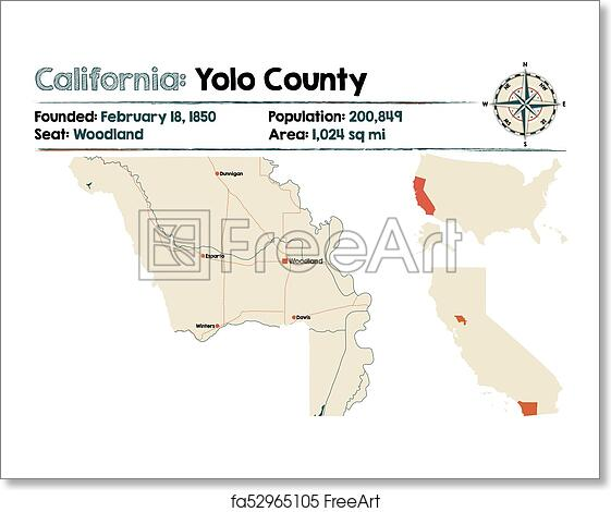 Free Art Print Of Yolo County In California Large And Detailed Map