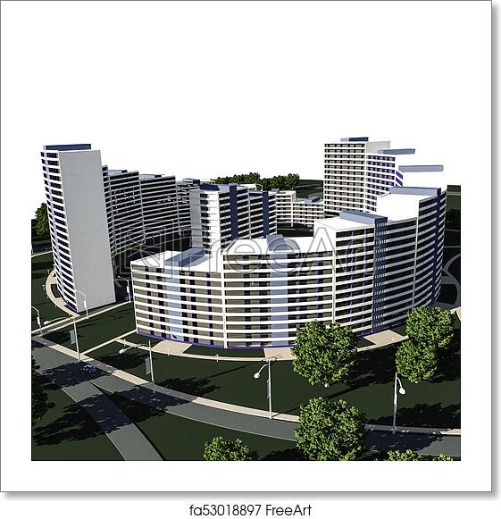 Free art print of Residential complex 3D render