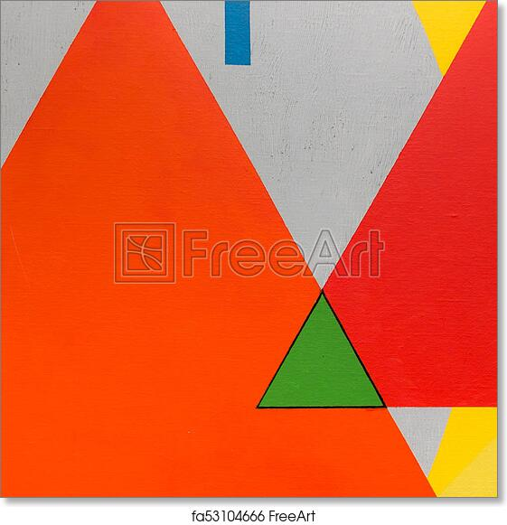Free Art Print Of Abstract Painting Art With Geometric Shapes Colorful Triangles