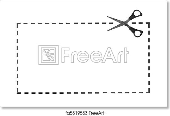 Free art print of Scissor on dotted line