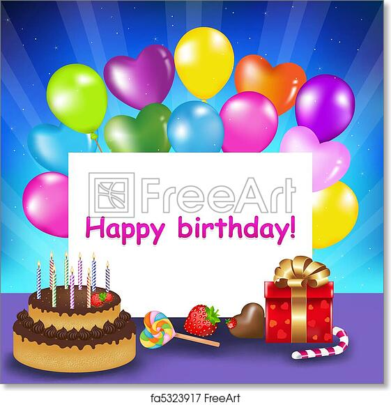 Free Art Print Of Happy Birthday Card Decoration Ready For With Cake Candles Balloons Sweets And Gift Vector Illustration