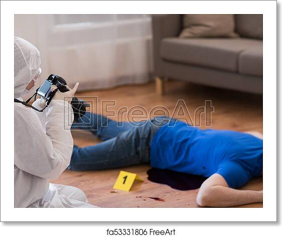 Free art print of Criminalist photographing dead body at crime scene