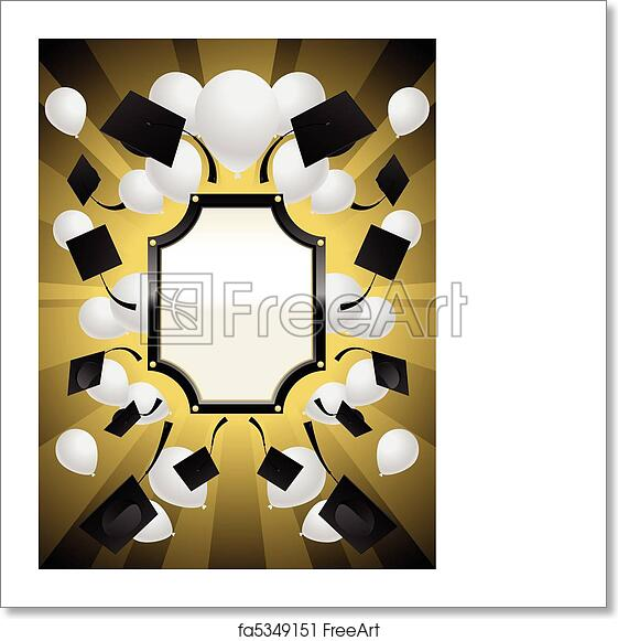 Free Art Print Of Graduation Frame Frame Surrounded By Balloons And Graduation Caps Freeart Fa5349151