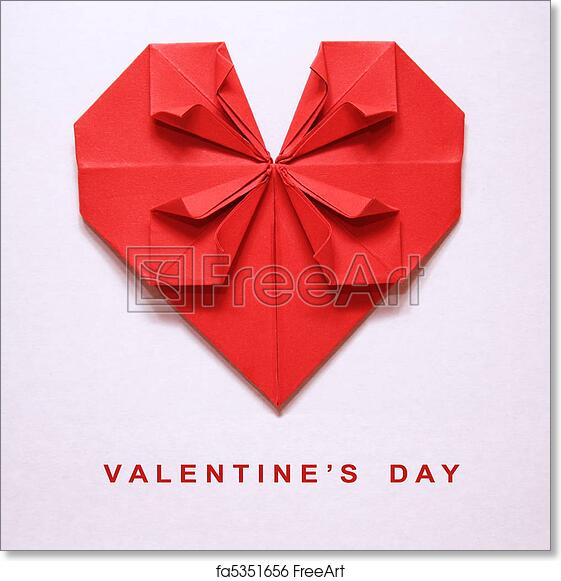 Free Art Print Of Valentines Day Origami Card Valentines Day Red