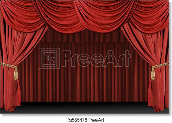 Free Art Print Of Stage Theatre Drape Background Old Fashioned Elegant Theater With Velvet Curtains Tassles