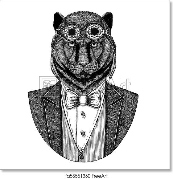 0e185f91e Free art print of Panther Puma Cougar Animal wearing aviator helmet and  jacket with bow tie Flying club Hand drawn illustration for tattoo