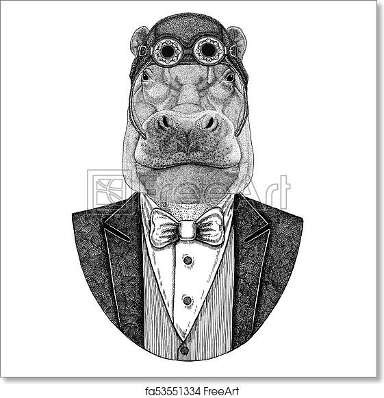 cc6efc90b ... river-horse Animal wearing aviator helmet and jacket with bow tie  Flying club Hand drawn illustration for tattoo
