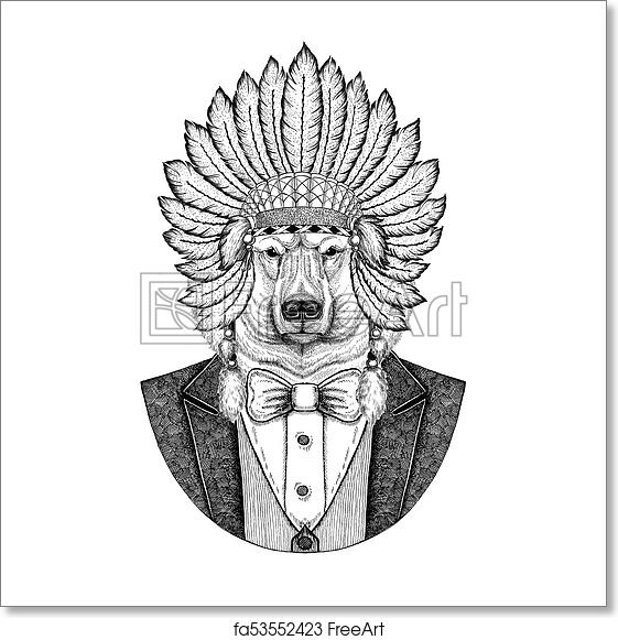 Free Art Print Of Polar Bear Wild Animal Wearing Inidan Hat Head Dress With Feathers Hand Drawn Image For Tattoo T Shirt Emblem Badge Logo Patch
