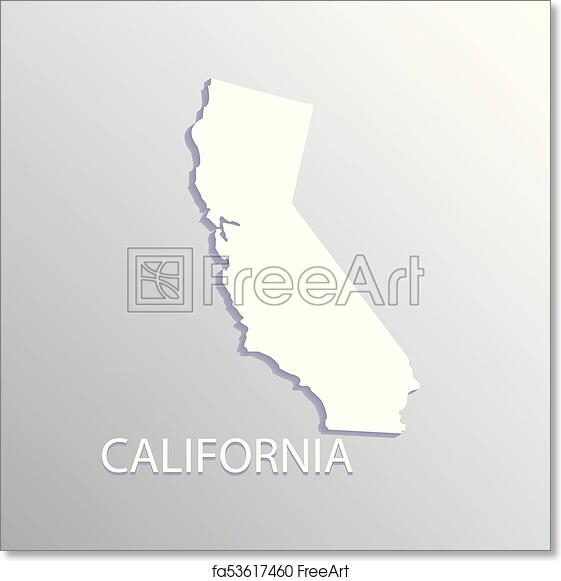Free Art Print Of California Map California State Flat Map White