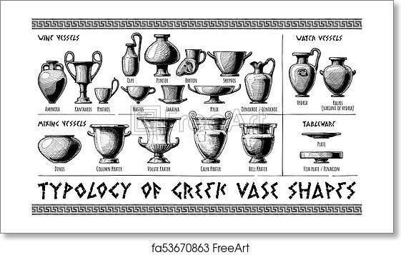 Free Art Print Of Greek Vessel Shapes Typology Of Greek Vase Shapes