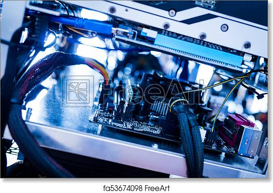 Free Art Print Of Wires Of Bitcoin Mining Machine In A Close Up Shot -