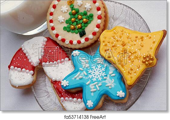 free art print of artistically decorated christmas cut out sugar cookies