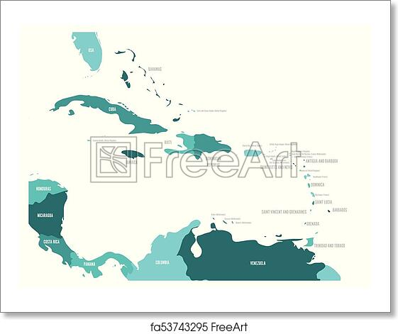 Free art print of Central America and Caribbean states political map in  four shades of turquoise blue with black country names labels. Simple flat  ...