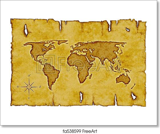Antique Scroll Map: Free Art Print Of Old World Map. Scroll Of Old Burnt World