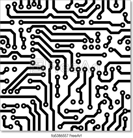 free art print of seamless texture - circuit board  monochrome seamless texture
