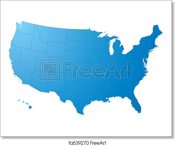 Free Art Print Of Us Map Plain A Blue Map On A Solid White