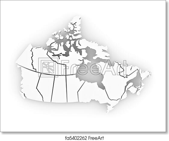 Map Of Canada 3d.Free Art Print Of Three Dimensional Map Of Canada 3d