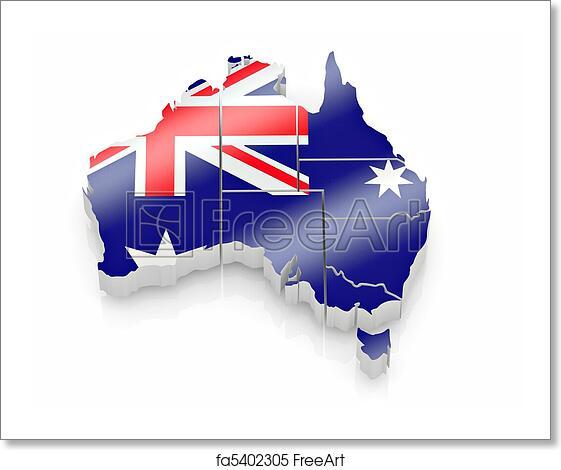 Free Map Of Australia To Print.Free Art Print Of Map Of Australia In Australian Flag Colors