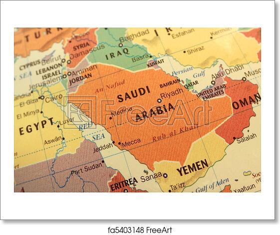 Free art print of Saudi Arabia map on globe. Map of Saudi Arabia and ...