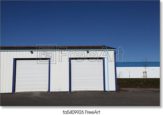 Free Art Print Of Two Industrial Garage Doors Two Closed White