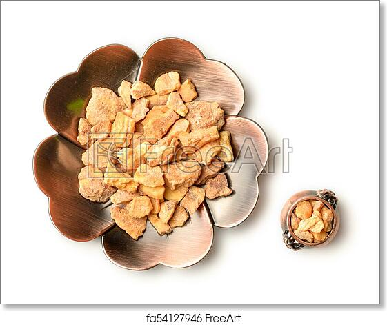 Free art print of Styrax benzoin in the plate, on the white background,  isolated, top view