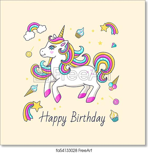 Free Art Print Of Happy Birthday Card With Cute Unicorn Happy