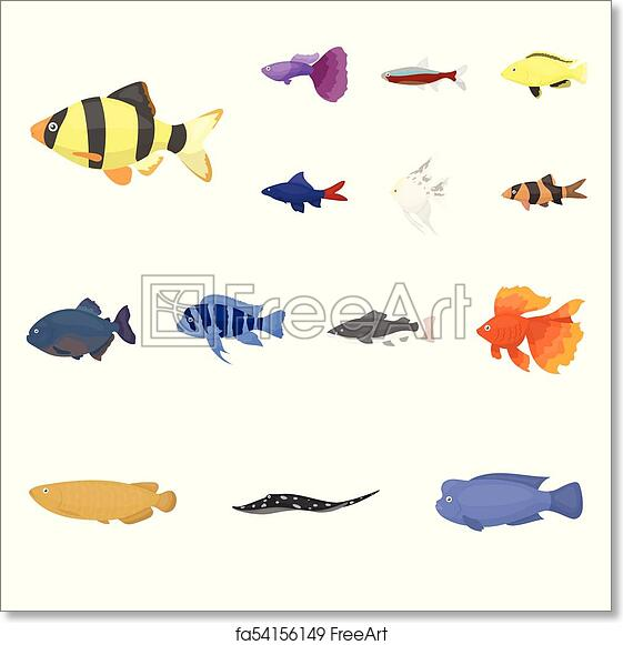 Free Art Print Of Different Types Of Fish Cartoon Icons In Set